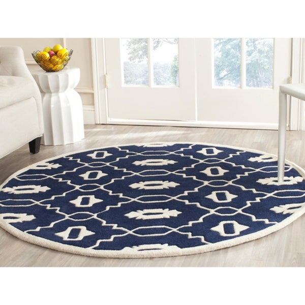 Safavieh Moroccan Blue And Black Area Rug: Safavieh Handmade Moroccan Chatham Dark Blue/ Ivory Wool