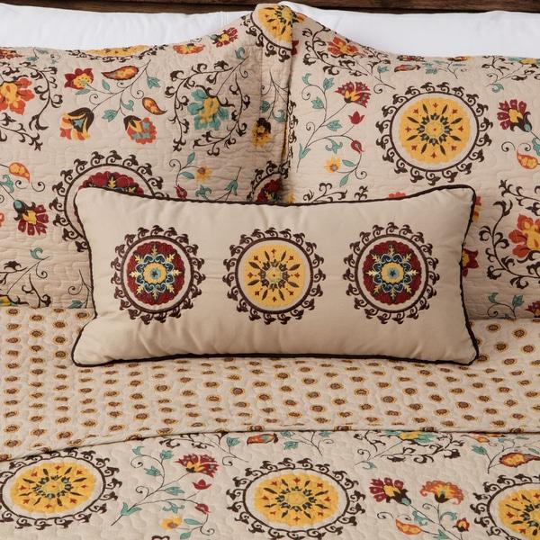 Shop Greenland Home Fashions Andorra Suzani Pattern Neck Roll Impressive Decorative Roll Pillows
