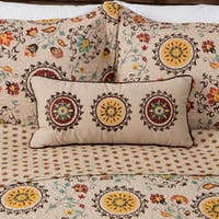 Greenland Home Fashions Andorra Suzani Pattern Neck Roll Decorative Pillow