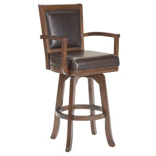 30 Inch Faux Leather Cherry Swivel Barstool