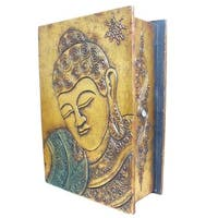 Handmade Gold Book-style 13-inch Buddha Box (Indonesia)