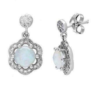 La Preciosa Sterling Silver Opal and Micro Pave CZ Flower Earrings