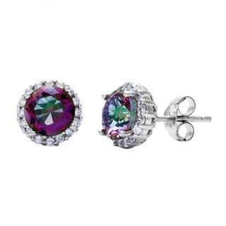 La Preciosa Sterling Silver Mystic CZ Round Stud Earrings