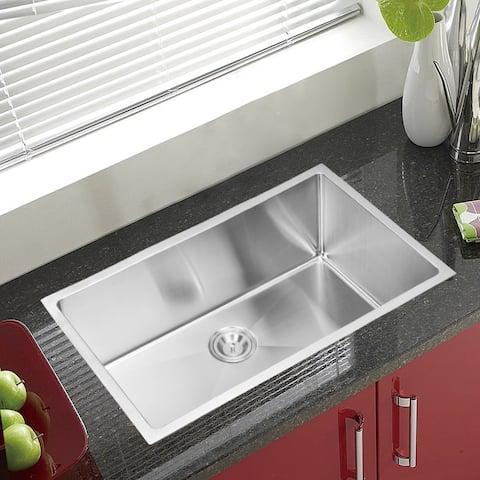 Water Creation 32 X 19-inch Corner Radius Single Bowl Stainless Steel Handmade Undermount Kitchen Sink with Drain and Strainer