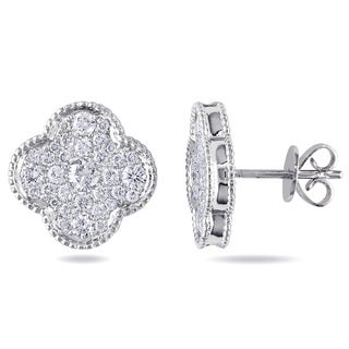 Miadora Signature Collection 14k White Gold 7/8ct TDW Pave Diamond Stud Earrings