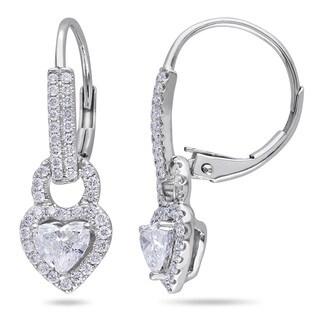 Miadora Signature Collection 14k White Gold 1ct TDW Diamond Heart Earrings (G-H, I1-I2)