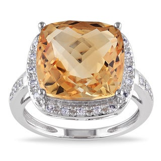 Miadora 14k White Gold Citrine and 1/8ct TDW Diamond Ring (G-H, I1-I2)