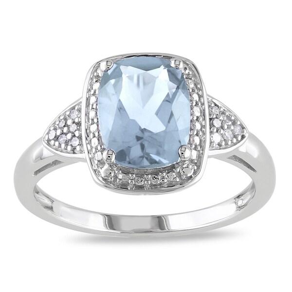 Miadora 10k White Gold Aquamarine and Diamond Accent Ring