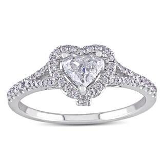 Miadora 14k White Gold 3/4ct TDW Heart Diamond Engagement Ring