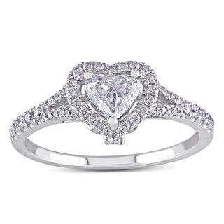 Link to Miadora 14k White Gold 3/4ct TDW Heart Diamond Engagement Ring Similar Items in Wedding Rings