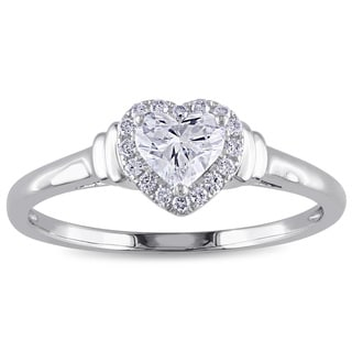 Miadora Signature Collection 14k White Gold 1/2ct TDW Heart Diamond Ring
