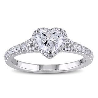 Miadora Signature Collection 14k White Gold 1ct TDW Heart Diamond Ring