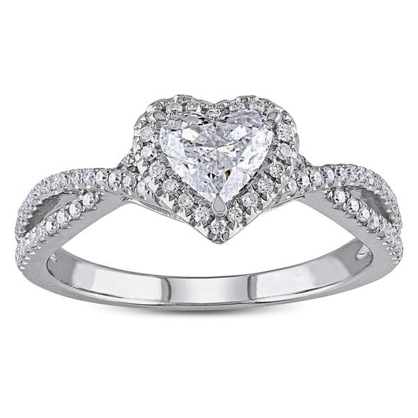 Miadora 14k White Gold 1ct TDW Heart-cut Diamond Split Shank Halo Engagement Ring