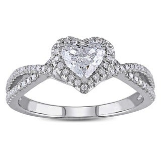 Miadora 14k White Gold 1ct TDW Heart-cut Diamond Split Shank Halo Engagement Ring