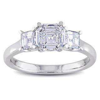 Miadora Signature Collection 14k White Gold 1 2/5ct TDW Asscher Cut Diamond Ring (G-H, VS1-VS2)