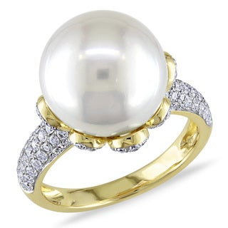Miadora Signature Collection 14k Yellow Gold South Sea Pearl 3/4ct TDW Diamond Ring (G-H, SI1-SI2)