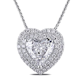 Miadora Signature Collection 14k White Gold 1 3/8ct TDW Diamond Heart Necklace (G-H, I1)