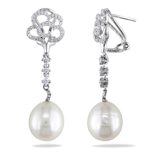 Miadora Signature Collection 14k White Gold Pearl and 2/5ct TDW Diamond Earrings (G-H, SI1-SI2)