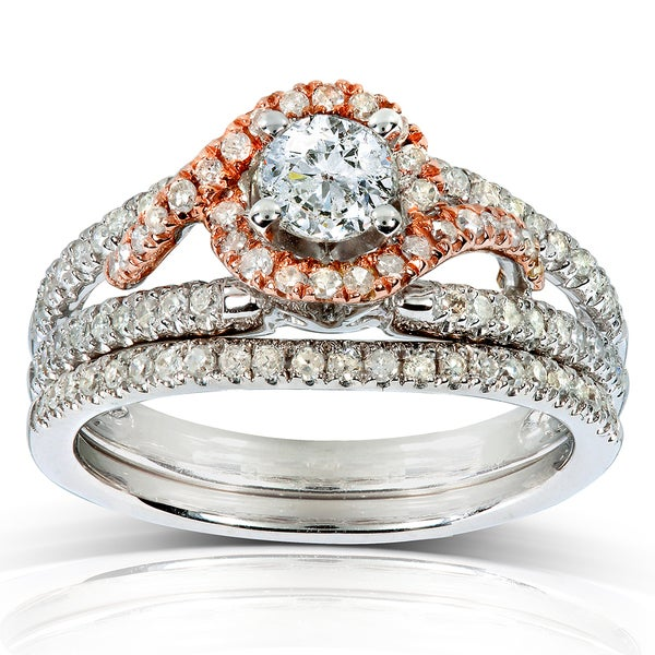 Annello by Kobelli 14k Two-tone Gold 4/5ct TDW Round Diamond 2-piece Bridal Set (H-I, I1-