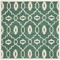 Safavieh Handmade Moroccan Chatham Teal/ Ivory Wool Area Rug - 5' Square
