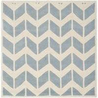 Safavieh Handmade Moroccan Chatham Zigzag-pattern Blue/ Ivory Wool Rug - 5' Square