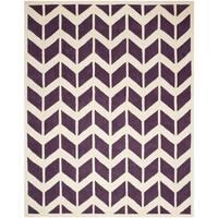 Safavieh Handmade Moroccan Chatham Purple/ Ivory Wool Rug - 5' x 5'