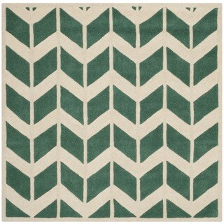 Safavieh Handmade Moroccan Chatham Geometric Teal/ Ivory Wool Rug (5' Square)