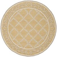 Safavieh Hand-hooked Chelsea Yellow/ Grey Wool Rug - 5'6 Round