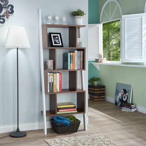 Contemporary Shelf furniture of america danbury contemporary 5-shelf 2-tone bookshelf