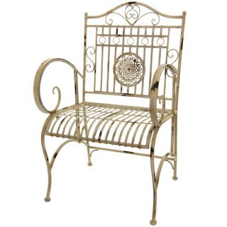 Maison Rouge Tennyson Distressed White Rustic Garden Chair
