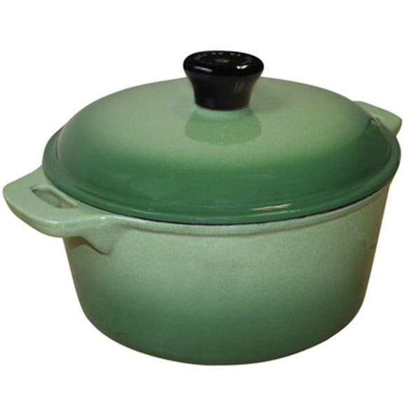 Le Cuistot Dark Green Enameled Cast Iron 8-quart Round Casserole