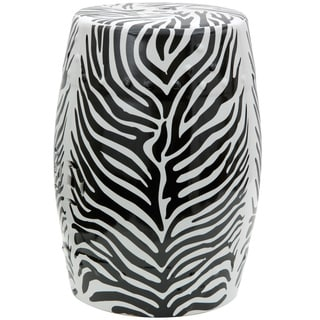 Handmade 18-inch High Zebra Leaf Porcelain Garden Stool (China)