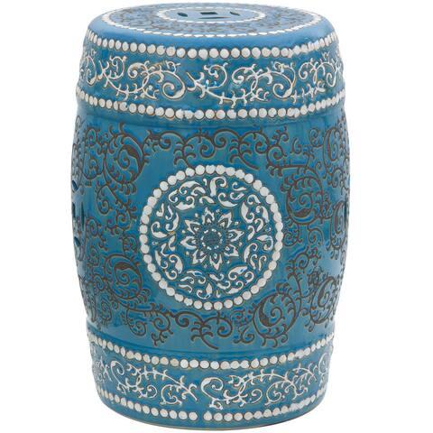 Handmade Blue Medallion Porcelain Stool/End Table