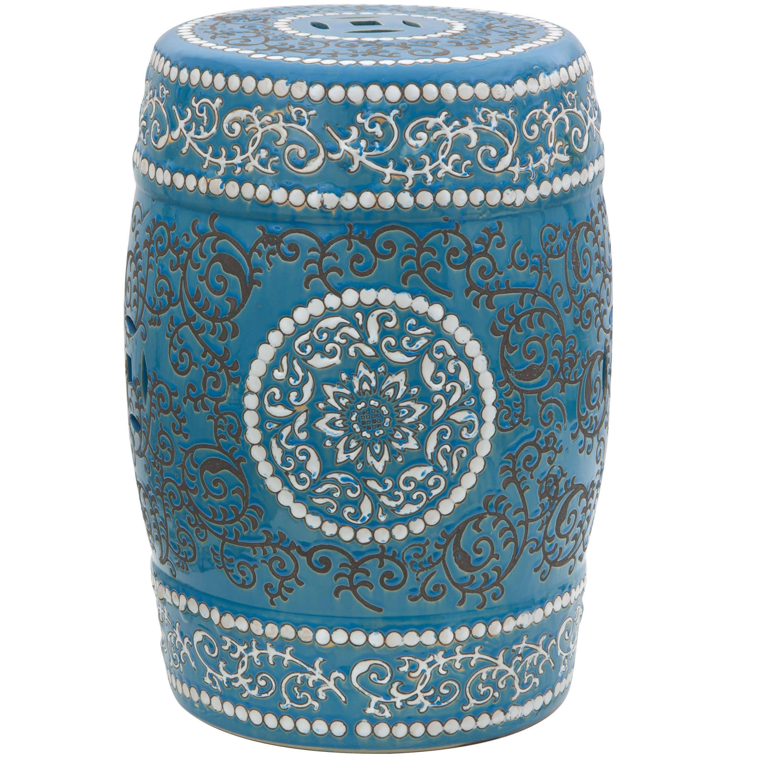 Genial Handmade Blue Medallion Porcelain Garden Stool (China)