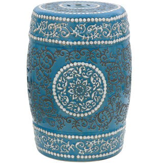 The Curated Nomad La Bica Handmade Blue Medallion Porcelain Garden Stool (China)