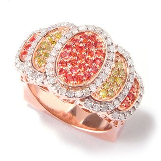 Eugenio Designs Sterling Silver 3/4ct TDW Yellow and White Diamond Orange Sapphire Ring (H-I, I1-I2)