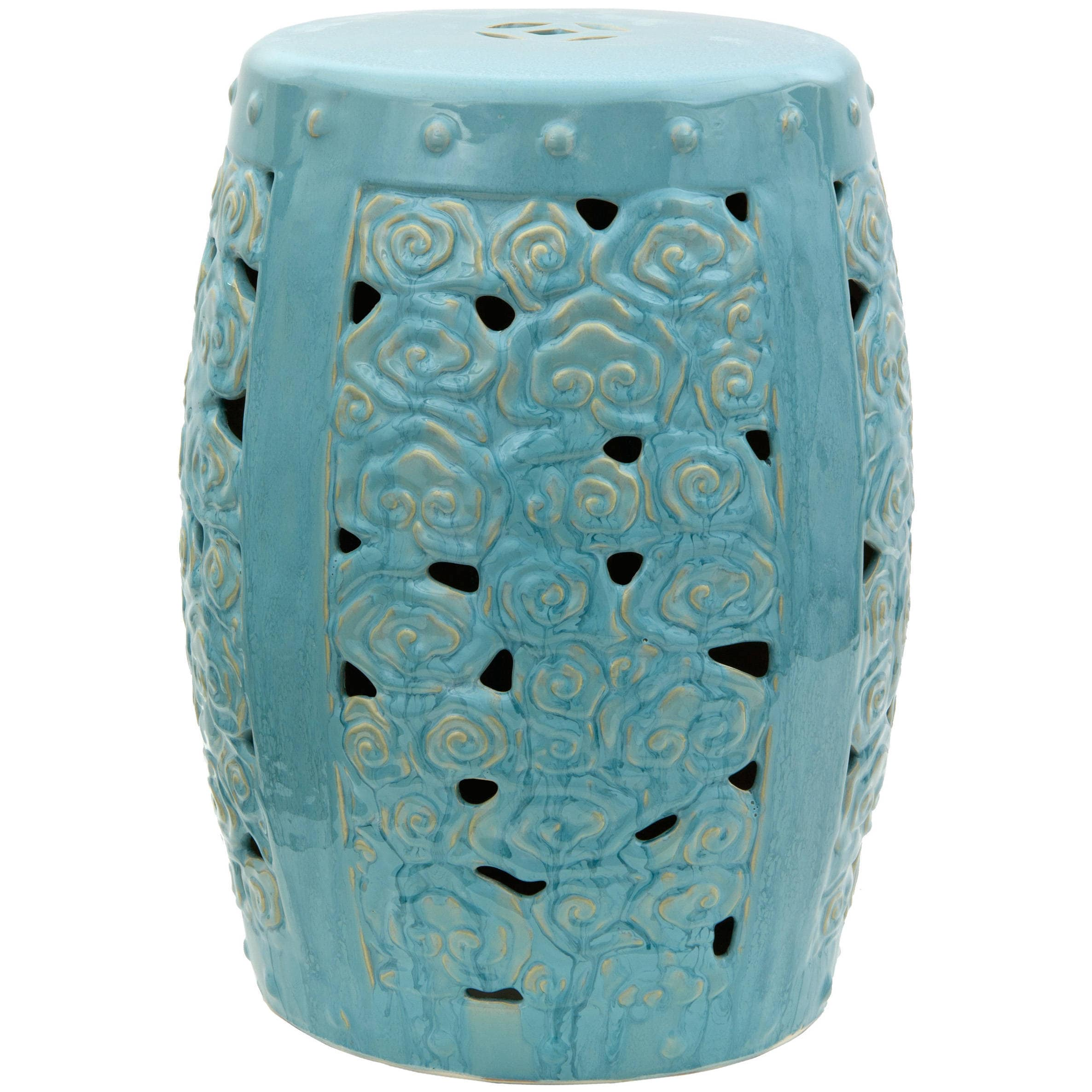 Handmade Carved Clouds Porcelain Garden Stool (China) - Blue