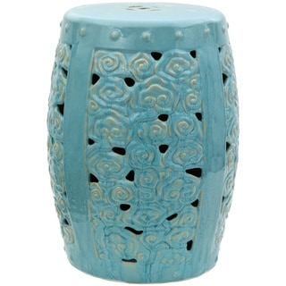 Handmade Carved Clouds Porcelain Garden Stool (China)