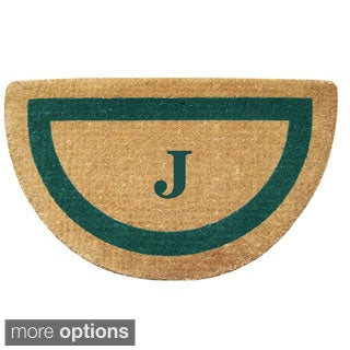 Heavy-duty Coir Single Green Picture Frame Monogrammed Half-round Doormat