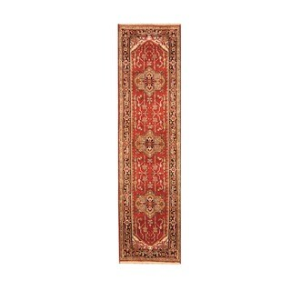 Handmade Herat Oriental Indo Heriz Red/ Black Wool Rug - 2'6 x 10' (India)