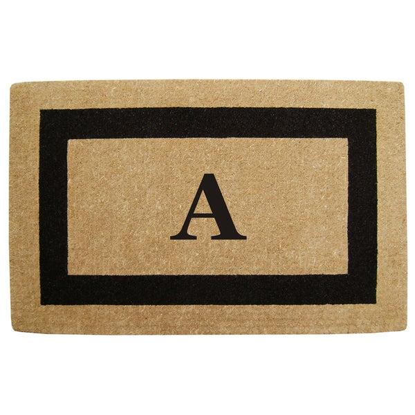 Elegant Heavy Duty Coir Monogrammed Black Door Mat
