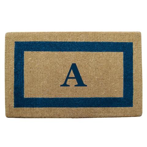 Heavy Duty Coir Monogrammed Frame Blue Door Mat