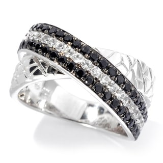 Platinum over Sterling Silver Black Spinel and White Zircon Animal Print Textured Band Ring