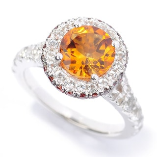 Sterling Silver Citrine, Brown Zircon and White Topaz Halo Ring