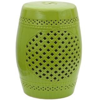 Handmade Green Lattice Porcelain Garden Stool (China)
