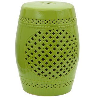 The Curated Nomad La Bica Handmade Green Lattice Porcelain Garden Stool (China)