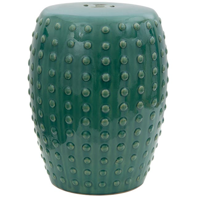 18-inch Teal Porcelain Garden Stool