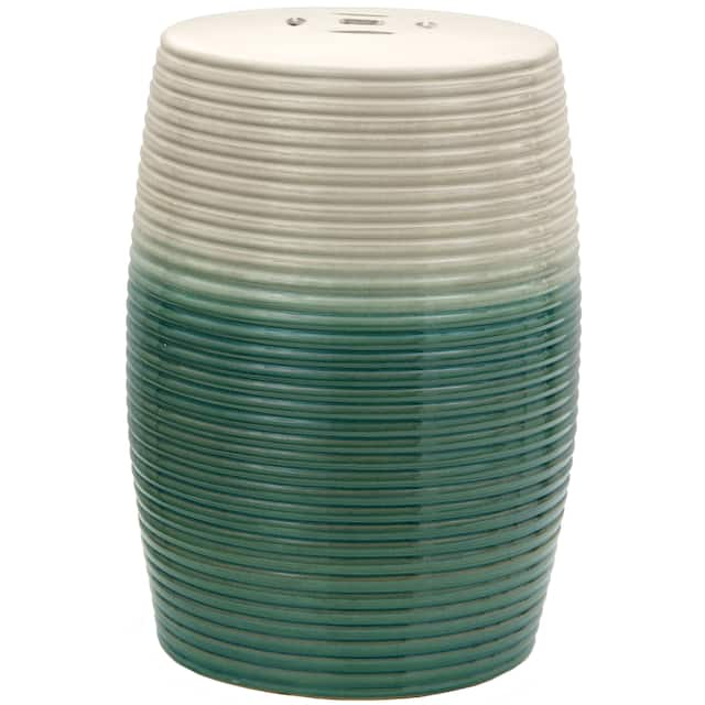 Beige and Green Ribbed Porcelain Garden Stool