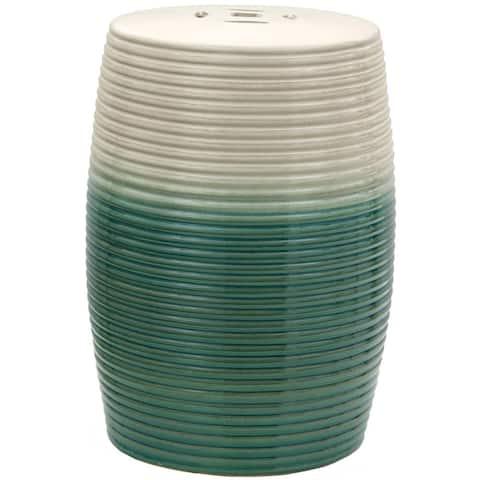 Handmade Beige and Green Ribbed Porcelain Garden Stool