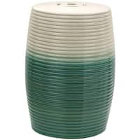 Handmade Beige and Green Ribbed Porcelain Garden Stool (China)